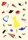 O jogo das mulheres forma acessórios da American National Standard da roupa ilustração do vetor