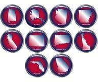 O jogo de 10 teclas do estado ajustou 1 Imagens de Stock