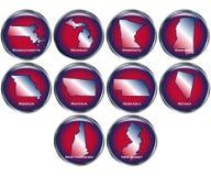 O jogo de 10 teclas do estado ajustou 3 Imagem de Stock