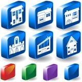 O jogo de 3D dirige/ícones do edifício Imagem de Stock Royalty Free
