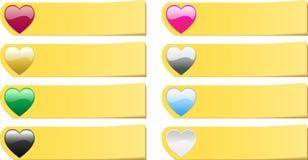 O jogo de 8 coloriu notas das etiquetas do post-it dos corações Imagem de Stock