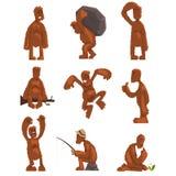 O jogo de caracteres engraçado dos desenhos animados de bigfoot, criatura mítico em situações diferentes vector ilustrações em um ilustração do vetor