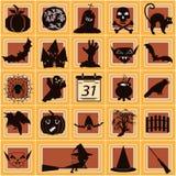 O jogo de caracteres para Dia das Bruxas Dia das Bruxas alegre com um gato, um w Imagem de Stock Royalty Free