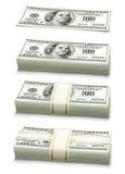 O jogo de notas de banco do dólar embalou o dinheiro Fotografia de Stock Royalty Free