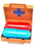 O jogo de primeiros socorros com comprimidos Foto de Stock