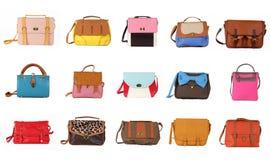 O jogo de sacos fêmeas coloridos em um background 15 partes Fotografia de Stock