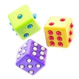 O jogo de três lustrosos coloridos corta isolado Fotografia de Stock Royalty Free