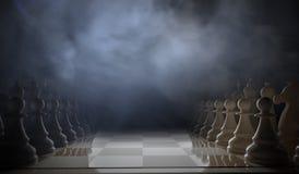 O jogo de xadrez começa Partes que estão nas fileiras 3D rendeu a ilustração Fotos de Stock Royalty Free