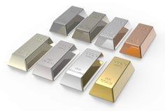 O jogo do artigo de valor metals os lingotes isolados no branco. Imagens de Stock
