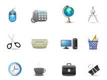 O jogo do escritório utiliza ferramentas o ícone Fotos de Stock