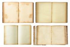 O jogo do livro velho aberto isolou-se no branco Imagem de Stock