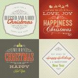O jogo do vintage denominou cartões do Natal e do ano novo ilustração royalty free