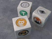O jogo dos dados com o cryptocurrency do vintage dos símbolos Imagem de Stock Royalty Free