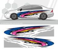 O jogo dos gráficos do decalque do carro e do envoltório dos veículos projeta apronte para imprimir e cortar para etiquetas do vi ilustração royalty free