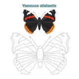 O jogo educacional conecta pontos à borboleta da tração Foto de Stock