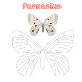O jogo educacional conecta pontos à borboleta da tração Fotografia de Stock
