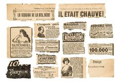 O jornal remenda o vintage que anuncia páginas francesas do compartimento foto de stock