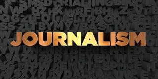 O jornalismo - texto do ouro no fundo preto - 3D rendeu a imagem conservada em estoque livre dos direitos ilustração do vetor