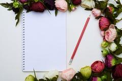 O Jotter e o lápis vermelho circundaram por flores coloridas fotos de stock