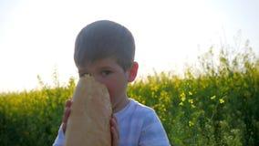 O jovem com pão do naco à disposição no campo do fundo, rapaz pequeno feliz que come o pão no parque fora, criança com fome come filme