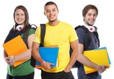 O jovem do estudante das estudantes universitário estuda feliz de sorriso da educação isolado no branco fotografia de stock