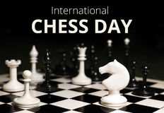 20o julho - dia internacional do conceito da xadrez Fotos de Stock Royalty Free