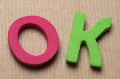 O.K. brieven Stock Afbeelding