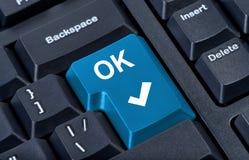 O.K. de computertoetsenbord van de knoop. Royalty-vrije Stock Foto