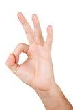 O.K. de hand van Gesturing Stock Foto's