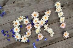O.K. Diagonallinschrijving `! ` van bloemen op houten achtergrond met verspreide bloemen Stock Afbeeldingen