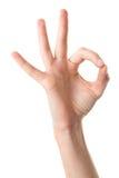 O.k. gebaar, dat op wit wordt geïsoleerde Royalty-vrije Stock Afbeelding