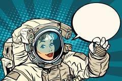 O.K. gebaar vrouwelijke astronaut in een spacesuit vector illustratie