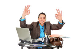 O.k. gesturing van de zakenman Stock Foto