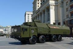 O 9K720 Iskander (pedra do nome SS-26 do relatório da OTAN) é um sistema de mísseis balístico de curto prazo móvel Imagem de Stock