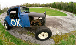O.K. Old Race Car at a Vintage Speedway Race Track Stock Image