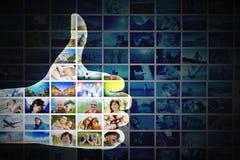 O.K., wie Geste Hand auf der Collage von Bildern, Fotohintergrund lizenzfreie abbildung
