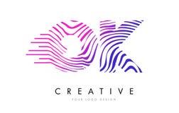 O.K. Zebra Lines BIEN lettre Logo Design avec des couleurs magenta Images libres de droits
