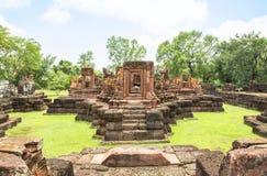 O Ka de Ku canta a ruína pública o templo antigo da rocha do castelo em Roi Et Thailand Fotos de Stock