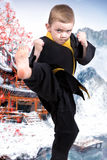 O karaté do rapaz pequeno mostra as técnicas da arte marcial japonesa do karaté Treinamento de atletas novos, campeões Fotos de Stock Royalty Free