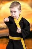 O karaté do rapaz pequeno mostra as técnicas do karaté japonês da arte marcial Atletas novos de formação, campeões Fotos de Stock Royalty Free