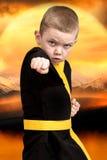 O karaté do rapaz pequeno mostra as técnicas do karaté japonês da arte marcial Atletas novos de formação, campeões Imagens de Stock Royalty Free