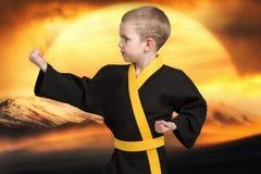 O karaté do rapaz pequeno mostra as técnicas do karaté japonês da arte marcial Atletas novos de formação, campeões Imagem de Stock