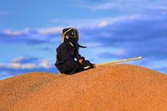 O kendo japonês da arte marcial, o lutador senta-se na montanha foto de stock