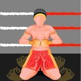 O khru de Wai é um formulário do ritual executado por médicos tailandeses muay antes dos respeitos de um pagamento do fósforo à i ilustração stock
