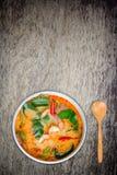 O kong ou Tom do 'batata doce' de Tom yum, 'batata doce' de Tom são uma sopa clara picante foto de stock
