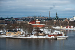 O Kronor af Éstocolmo de Tre da prisão militar no inverno Fotos de Stock