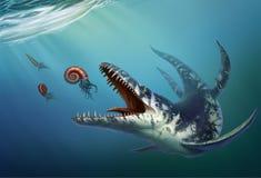 O Kronosaurus era um réptil marinho que vivesse no oceano ilustração do vetor