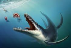 O Kronosaurus era um r?ptil marinho que vivesse no oceano durante o per?odo cret?ceo adiantado em que dinossauros ilustração stock
