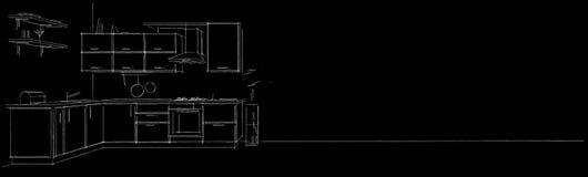 O lápis branco do esboço de canto moderno do contorno da cozinha alinha no fundo longo preto ilustração royalty free