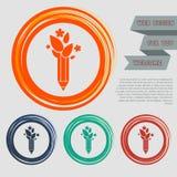 O lápis da ecologia, ícone da pena do eco nos botões vermelhos, azuis, verdes, alaranjados para seu Web site e no projeto com esp Fotos de Stock Royalty Free